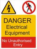 Danger Electrical Equipment No Unauthorized Entry Sign